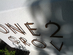 Lasercut Corten Steel Numbers and Letters with Pins