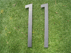 Lasercut Corten Steel Numbers with Pins