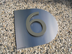 Stainless Steel Sign with Standoff Number