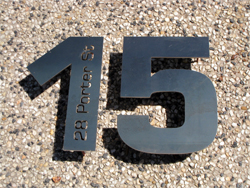 Lasercut Corten Steel Numbers with welded pins