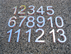 Lasercut polished stainless steel numbers with acrylic backing