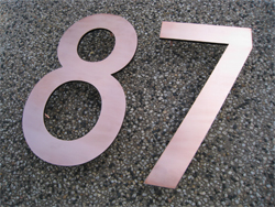 Copper numbers with 6mm acrylic backing and pins