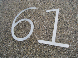 Lasercut stainless steel house number with pins